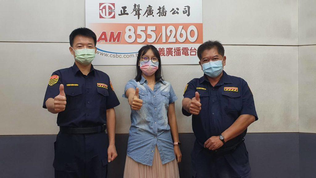 嘉義台邀訪嘉義縣警察局交通警察隊副隊長盧顯璧(左)、警務員莊博欽(右)